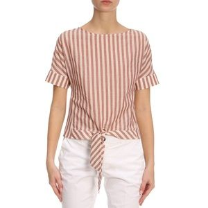 ELEVENTY Striped Top w/ Front Tie - Persimmon Red